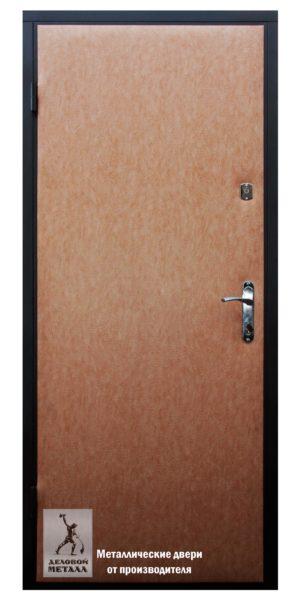 Внутреняя сторона металлической двери ДМС-100вн с внутренним открыванием и отделкой экокожей