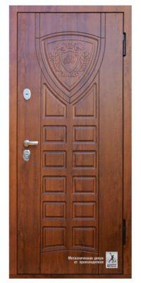 Дверь входная в квартиру ДМС-508 с двухсторонней отделкой панелями МДФ и патинированием