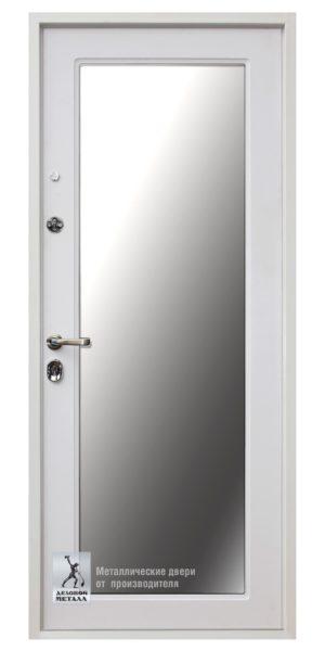 Белая металлическая дверь ДМС-509 с зеркалом